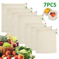 7X réutilisable sacs coton maille cordon de coton végétal zéro déchet shopping