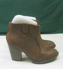 """new ladies Brown Rust 4"""" Block Heel Round Toe Sexy Ankle Boots women Size 7"""