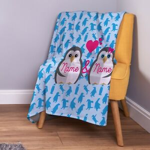"Light Blue w// Penguins Holiday theme Polar Blanket 50/""x 60/"" by Manhattan Heights"