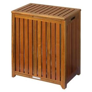 Portable Laundry Hamper 13.25 in. D x 20 in. W x 24.75 in. H Durable Wood Brown