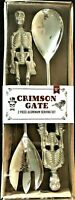 Halloween Serving Set Skeletons Heavy Duty Metal Kitchen Party Crimson Gate 2pc
