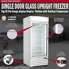 new single door glass upright freezer display kitchen danfoss compressor