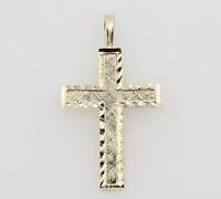 14K Solid Real Yellow Gold Diamond Cut Small Light Cross Charm Pendant Children
