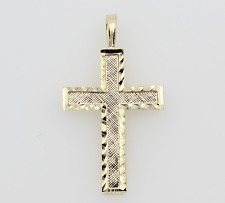 14K Solid Real Yellow Gold Diamond Cut Small Light Cross Charm Pendant Children