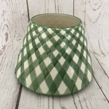 YANKEE CANDLE Green White Gingham Glass Jar Shade For Medium/Large