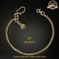 """22"""" Skull Solid Brass  Biker Trucker Mens Wallet Chain Keychain Key Jean"""