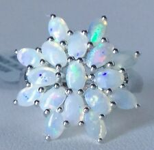 Size 8 Coober Pedy Australian Opal Sterling Silver Ring Tgw 2.26 Carats