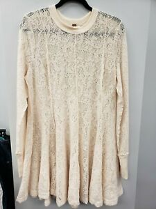Free People NEW Ivory Lace Tunic Blouse Top Medium