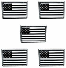 USA MILITARY SUPPORT B/W American IR Flag Lapel Pin/Tie Tack/Hat Pin (5 PACK)
