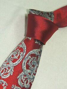 "Versace MEN'S TIE RED, SILVER/FLORAL  W: 3.50"" L:60"""