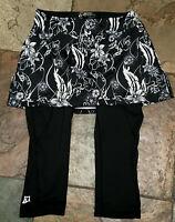 719 SKIRT SPORTS Small Black Floral Convert to Skirt Skirted Padded Capri Pants