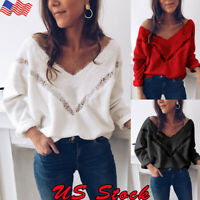 Womens Lace V Neck Knitted Sweater Tops Casual Loose Jumper Pullover Knitwear US
