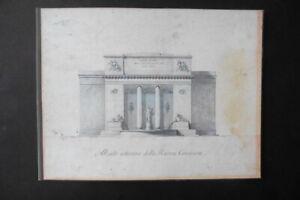 ITALIAN NEOCLASSICAL SCHOOL 19thC - ARCHITECTURAL STUDY PUBLIC BUILDING - INK