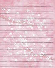 Pink And White Floral Background Lined Paper Set with 25 sheets and 10 envelopes
