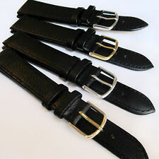 WATCH STRAP BLACK CALF GRAIN LEATHER - 8, 10, 12, 14, 16, 18, 20, 22, 24, 26mm