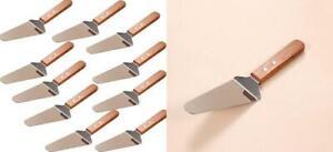 10x Pie Server Cake Holder Transfer Triangular Spade Spatula for 17# Wood