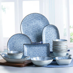 Japanese Blue Crockery Set Ceramic Dish Plate Bowl Dining Serving Tableware New