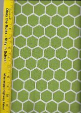 QUILT FABRIC: 100% COTTON, CITRUS GREEN HONEYCOMB, By The Yard