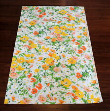 "Vintage Lady Pepperell Single Flat Sheet 60's 70s Floral Daisy 66"" x 104"" MCM"
