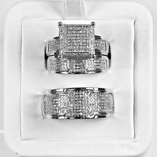 His And Her Bridal Engagement Ring Set Diamond Wedding 14K White Gold Over Trio