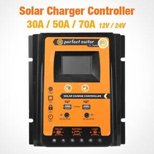 30A/50A/70A Solarregler-Laderegler PWM 12V/24V Panel Batterie Auto USB Dual LCD