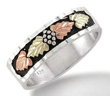 Black Hills Sterling Silver Men's Wedding Ring with 12k Gold Leaves Size 10