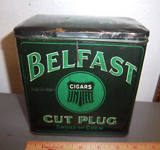 vintage BELFAST cut plug Cigar tobacco tin, 6 x 6 in, Great colors & graphics