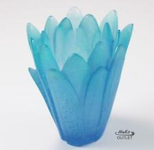 SIGNED DAUM VASE MOYEN MODELE MARGUERITE FLOWER BLUE PATE DE VERRE GLASS CRYSTAL
