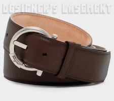 SALVATORE FERRAGAMO brown leather 46 palladium GANCINI Logo buckle Belt NWT Auth
