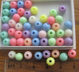150 PASTEL smooth round acrylic plastic beads 6mm mix choice of single colour