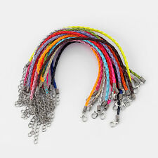 50pcs Multicolor Leather Braided Charms Bracelet Love For Beads W Lobster Clasp