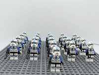 21Pcs Minifigures Star Wars Blue Clone Trooper 501st Clone Army Trooper Lego MOC