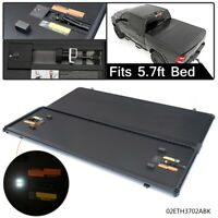 Lock Hard 5.7ft Bed Tri-Fold Tonneau Cover Black For DODGE RAM 1500 2009 - 2018