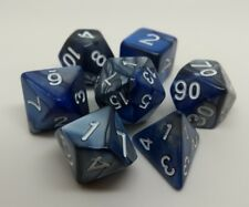 Elemental roleplay dice set. Blue and black with white numbers. Contains 7 dice.