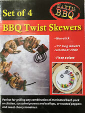 CURVED SHAPED BBQ KEBAB TWIST SKEWERS NON STICK OVEN BARBECUE GRILL