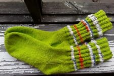 Wool hand knitted socks, eco 100% socks home  bright green SIZE EURO 40-41