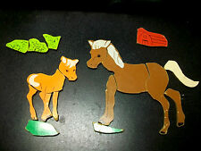 18 PC WOODEN HORSE PONY PICTURE PUZZLE WALL CRAFT VINTAGE DECORATIVE COLLECTIBLE
