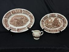 """3 Pieces Meakin FAIR WINDS BROWN 14 7/8"""" & 12.5"""" Oval Serving Platters & Creamer"""