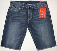 NWT $119 True Religion Denim Cutoff Shorts Mens Blue Ricky Relaxed Straight NEW