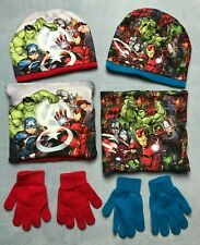 Marvel Avengers 3 Piece Winter Set Beanie Hat Snood and Gloves Size 2-13 Years