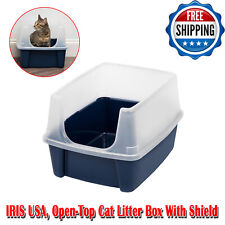 Cat Litter Box Pet Enclosure Kitty House Furniture Cats Indoor Deodorizer, Navy