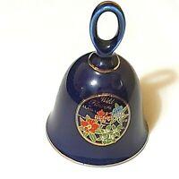 Vintage Bell Wild Flowers of Alaska Floral Dark Blue Japan 4-1/2' Preowned