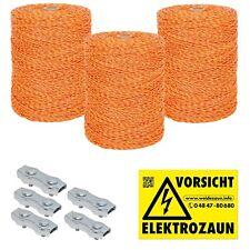 3000m Weidezaunlitze  + Verbinder und Warnschild gelb-orange 3x0,20 Niro
