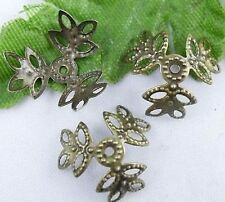 Wholesale 500pcs Silver Gold Plated Metal Filigree Flower Bead Caps Findings
