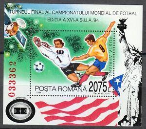 Romania 1994 MNH Mi Block 290 Sc 3929 World Cup Soccer Championships, USA **