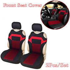 Four Seasons Jacquard Fabric Front Vest Car Seat Covers Cushions 2Pcs Black/Red