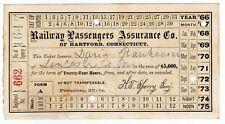 Railway Passengers Assurance Co. $5000 Railroad Travelers Insurance 1867