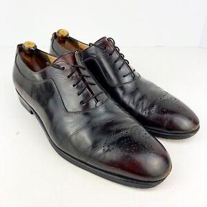 Salvatore Ferragamo Dress Shoes 10 D Burgundy Oxford Shoes