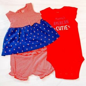 NWT Carters Red Blue Joy Baby Girls Stripe Three Piece Matching Set Size 6M
