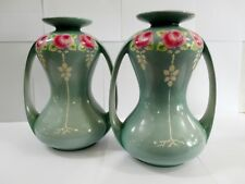LARGE PAIR OF SHELLEY TWIN HANDLED ROSE THEMED MANTLE VASES MADE IN ENGLAND